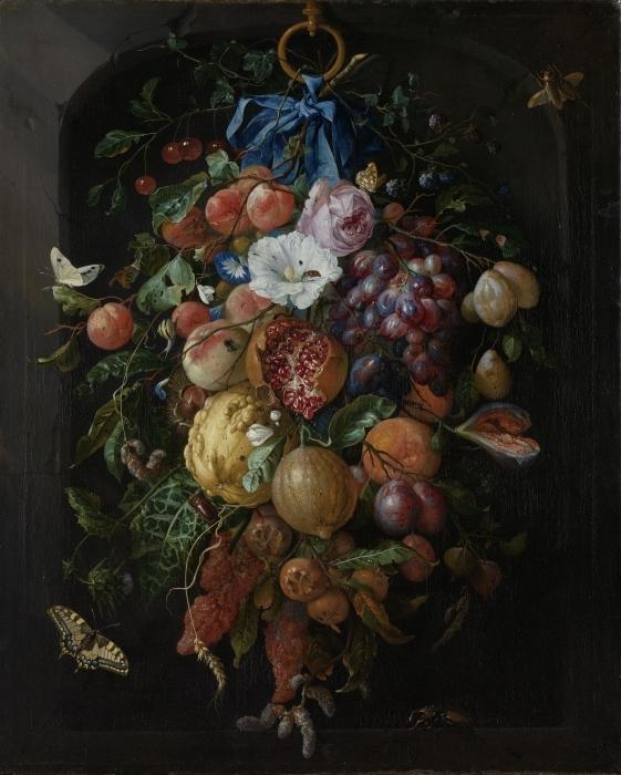 Jan Davidsz - Festoon of Fruit and Flowers Vinyl Wall Mural - Reproductions