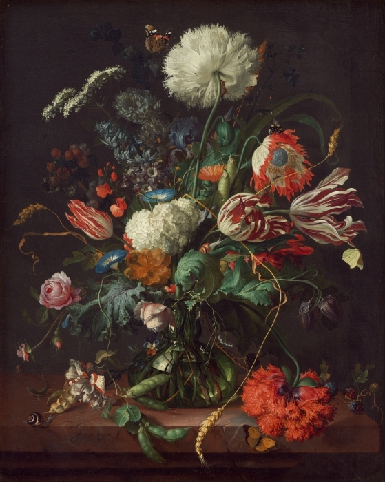 Papier peint vinyle Jan Davidsz - Vase of Flowers - Reproductions