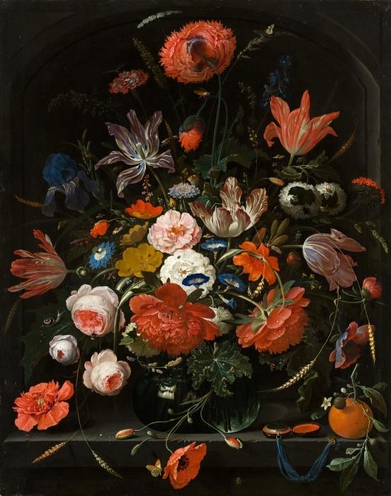 Pixerstick Aufkleber Abraham Mignon - Flowers in a Glass Vase - Reproduktion