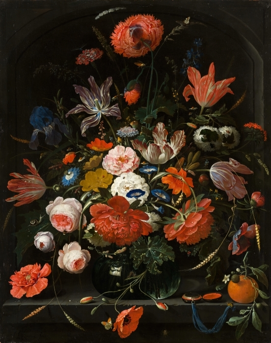 Fototapeta winylowa Abraham Mignon - Flowers in a Glass Vase - Reprodukcje