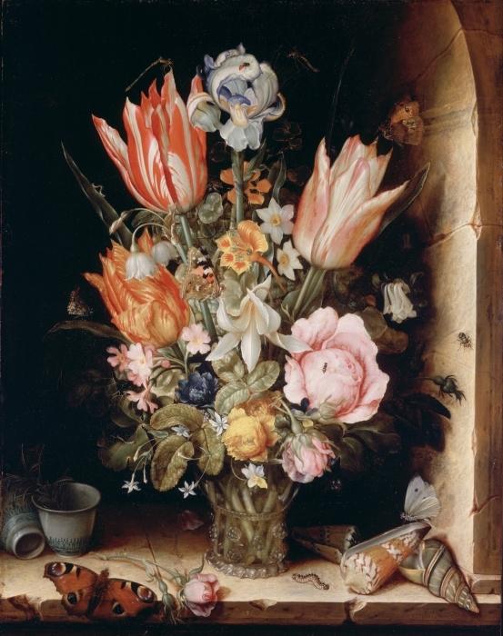 Pixerstick Aufkleber Christoffel van den Berghe - Still Life with Flowers in a Vase - Reproduktion