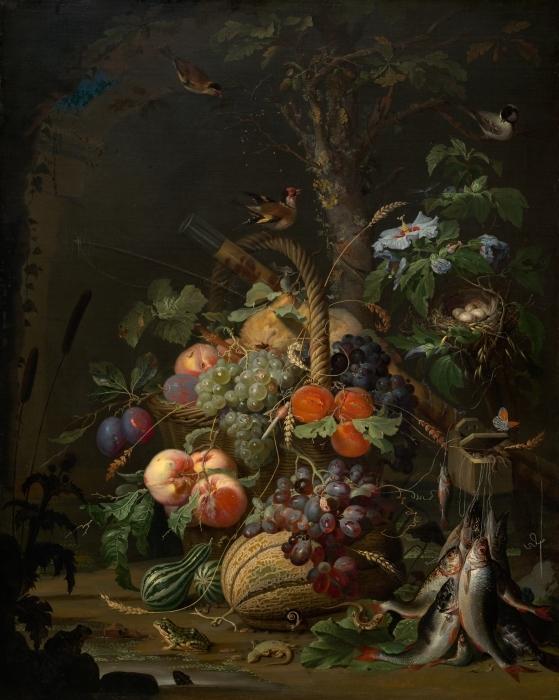 Fotomural Estándar Abraham Mignon - Still Life with Fruit, Fish and a Nest - Abraham Mignon