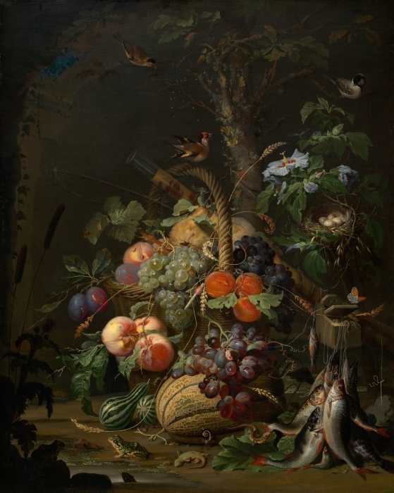 Naklejka Pixerstick Abraham Mignon - Still Life with Fruit, Fish and a Nest - Abraham Mignon