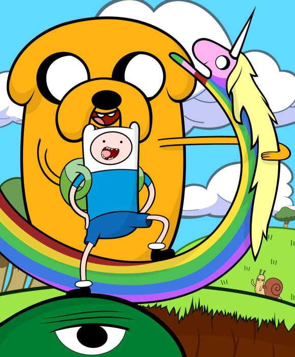 Fotomural Estándar Adventure Time: Finn, Jake & Lady Rainicorn - Hora de aventuras