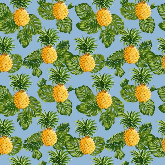 Pixerstick Sticker Ananas en tropische Achtergrond van Bladeren -