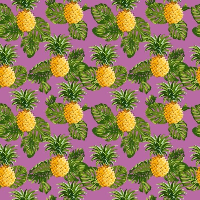 Vinilo Pixerstick La piña tropical y el fondo de las hojas -