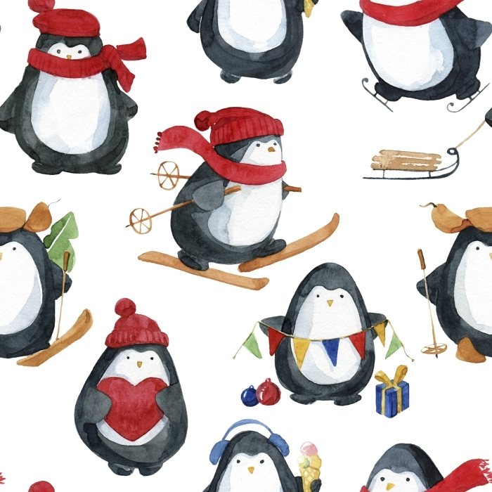 Vinylová fototapeta Bezproblémová akvarel pattern.Cute malí tučňáci připravují na Vánoce - Vinylová fototapeta