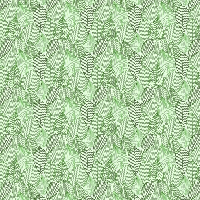 Spring green leaves seamless pattern Washable Custom-made Wallpaper -