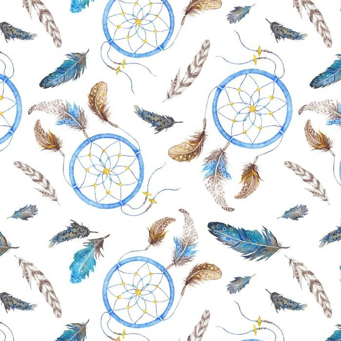 Afwasbaar behang, op maat gemaakt Boho Pattern with Feathers and Dreamcatcher - Kunst en Creatie