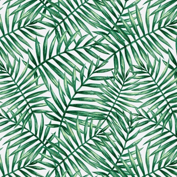 Papier peint lavable sur mesure Feuilles de palmier tropical aquarelle transparente motif. illustration vectorielle - Ressources graphiques