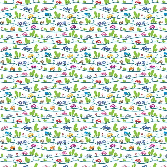 Autos en la carretera. divertido patrón sin costuras.
