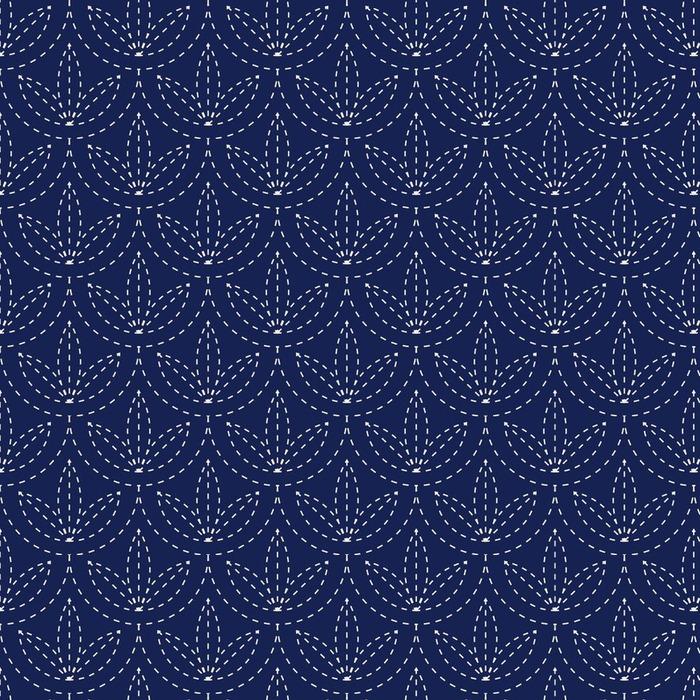 Afwasbaar behang, op maat gemaakt Naadloze porselein indigo blauw en wit vintage Japanse sashiko kimono patroon vector - Grafische Bronnen