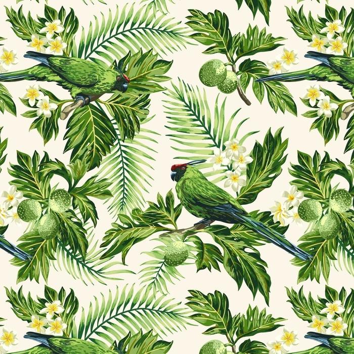 Papier peint lavable sur mesure Motif tropical sans couture avec des feuilles, des fleurs et des perroquets. - Animaux