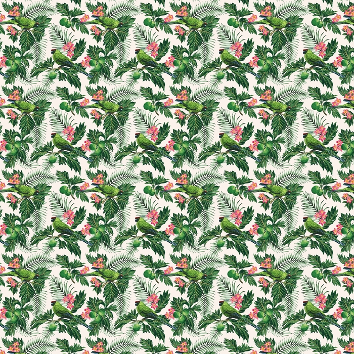 Bezszwowe tropikalny wzór z liści, kwiatów i papugi.