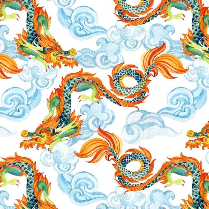 Afwasbaar behang, op maat gemaakt Chinese Draak naadloos patroon. Aziatische draakillustratie - Religie en Cultuur