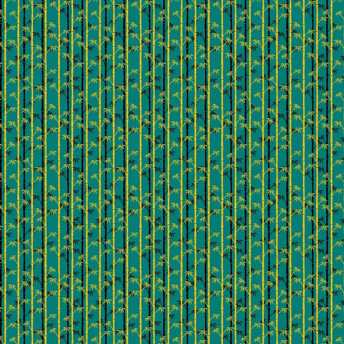 Gele en zwarte silhouetten van bamboe op blauwe achtergrond