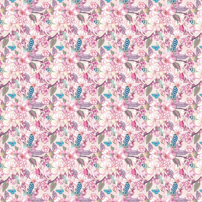 Vintage garden spring seamless pattern Washable custom-made wallpaper - Plants and Flowers