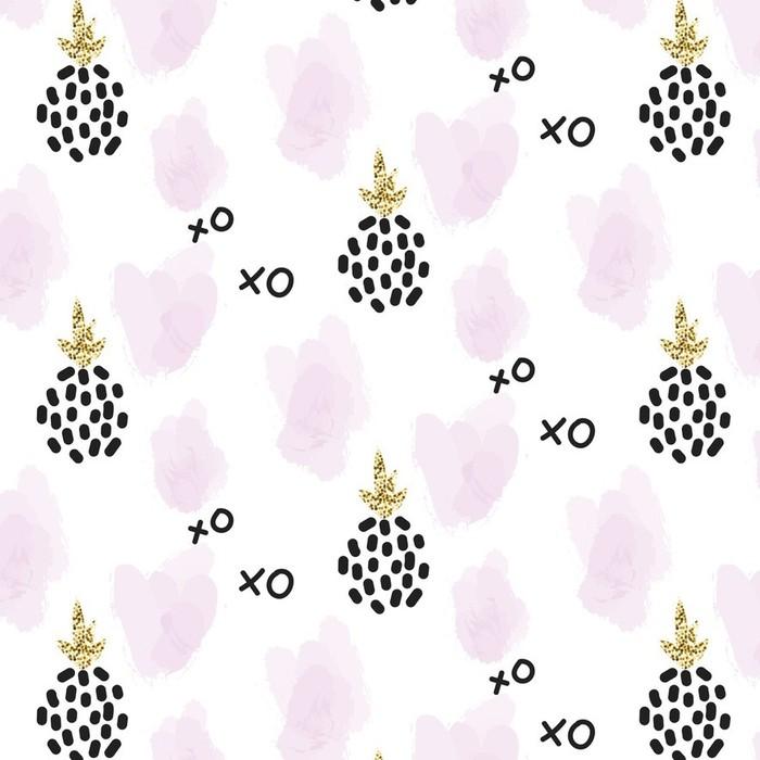 Afwasbaar behang, op maat gemaakt Glitter Scandinavische xoxo ananas ornament. Vector gouden naadloos patroon collectie. Modern shimmer details en roze penseelstreken stylish textuur. - Grafische Bronnen