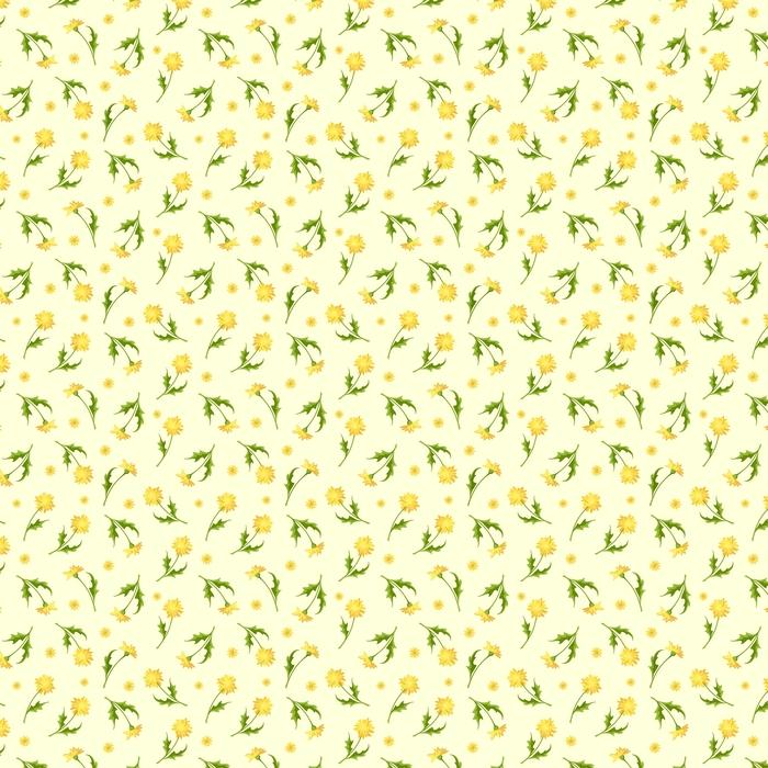 Patrón transparente de vector con flores amarillas de diente de León.