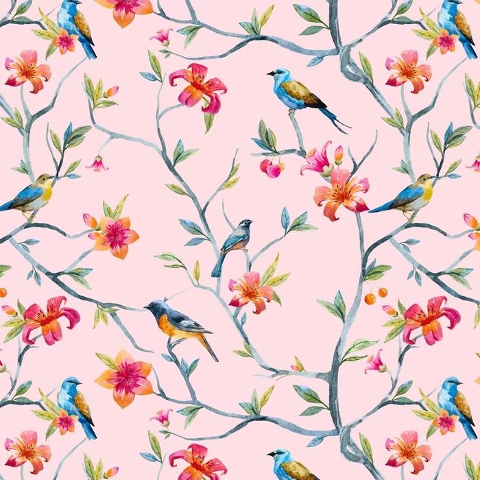 Afwasbaar behang, op maat gemaakt Aquarel bloemmotief - Bloemen en Planten