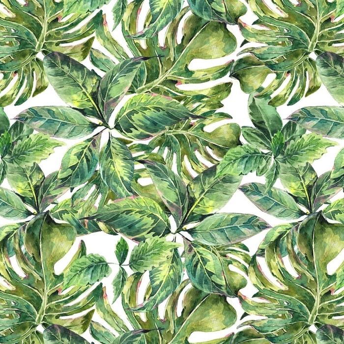 Afwasbaar behang, op maat gemaakt Zomer exotische waterverf naadloze patroon - Hobby's en Vrije tijd