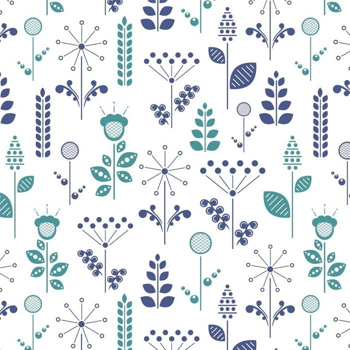 Afwasbaar behang, op maat gemaakt Nordic bloemen - Grafische Bronnen