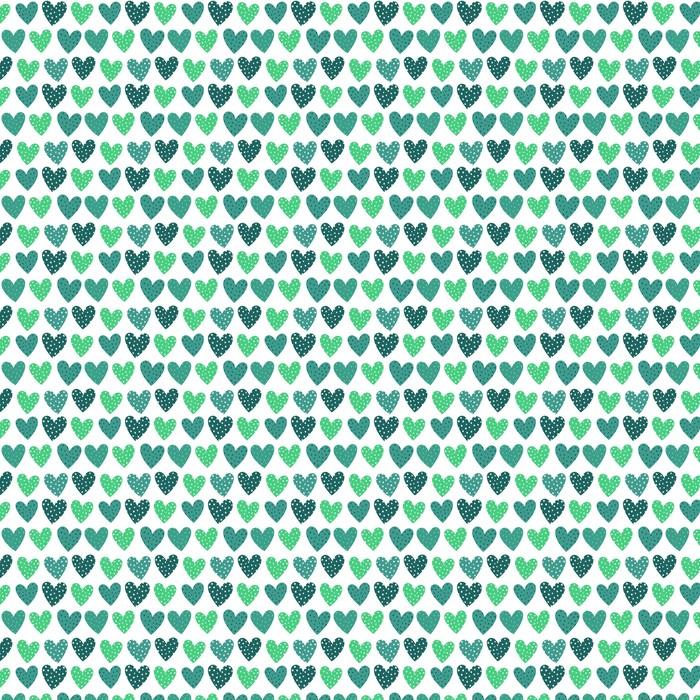 Śliczne Turkusowe Serca z kropkami Seamless Pattern