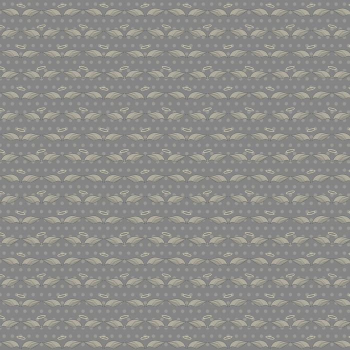 Patrones sin fisuras con alas y halo sobre fondo gris