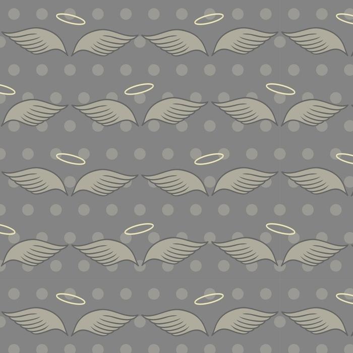 Afwasbaar behang, op maat gemaakt Naadloze patroon met vleugels en halo op grijze achtergrond - Grafische Bronnen