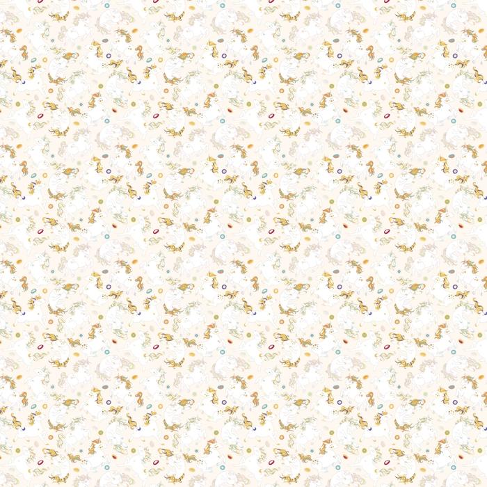 Wzór z słodkie jednorożce, gwiazdy, serca, chmury, tęcza i ciasta, pączki. magiczne niekończące się tło z małymi jednorożcami. ręcznie rysowane kolorowych ilustracji wektorowych. jednorożce są rozdzielone.