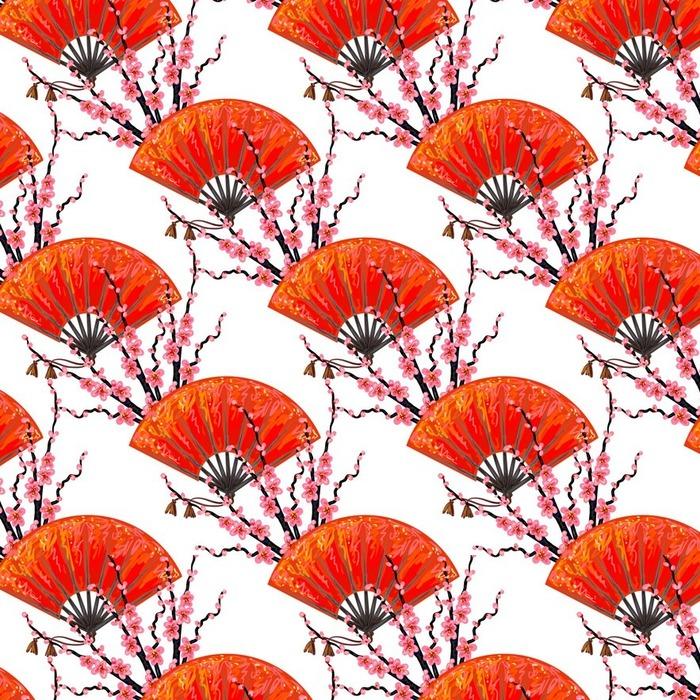Afwasbaar behang, op maat gemaakt Naadloos Japan patroon met Japanse de hand ventilator en sakura kersenbloesem vector achtergrond. Perfect voor achtergronden, patroonvullingen, webpagina achtergrond, oppervlaktestructuren, textiel - Bloemen en Planten
