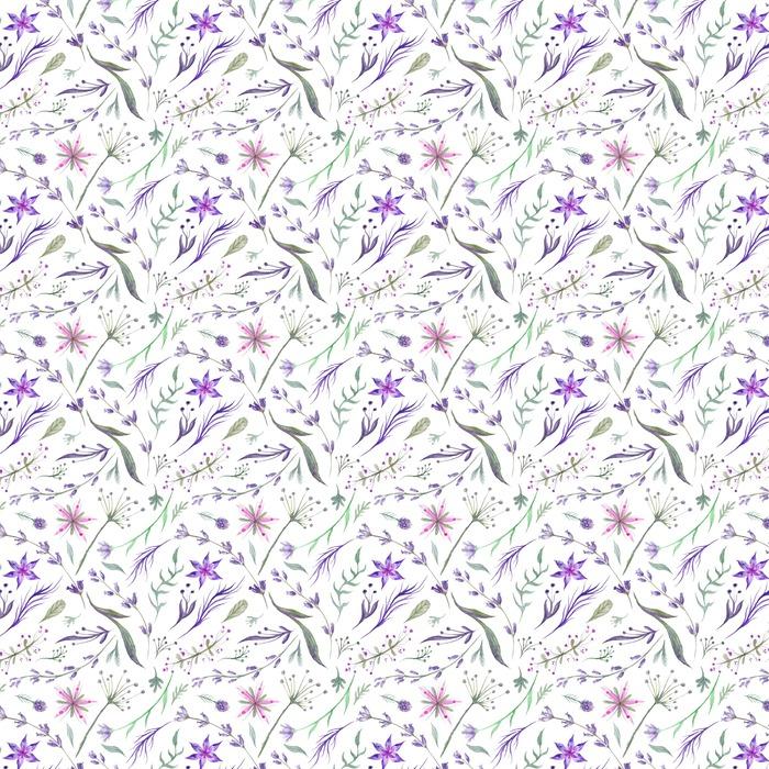 Akvarell Herbal Mönster med lavendel i lila färg