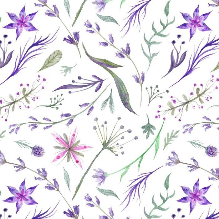 Afwasbaar behang, op maat gemaakt Watercolor Herbal Patroon met Lavendel in paarse kleur - Bloemen en Planten