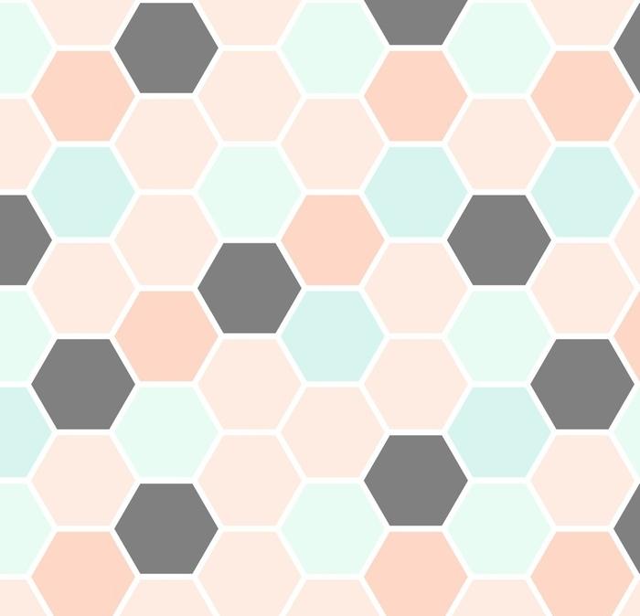 Papier peint lavable sur mesure Modèle sans couture d'hexagone - Ressources graphiques