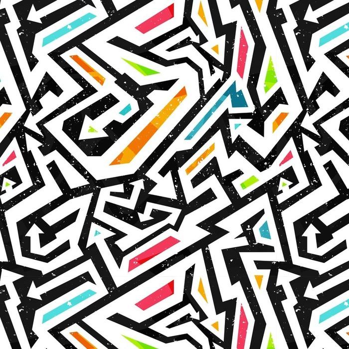 Afwasbaar behang, op maat gemaakt Graffiti - naadloos patroon - Grafische Bronnen
