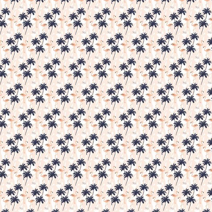 Abwaschbare Tapete Palmen Silhouette und erröten rosa Flamingo auf dem weißen Hintergrund mit Schlaganfällen. Vektor nahtlose Muster mit tropischen Vögeln und Pflanzen. - Tiere