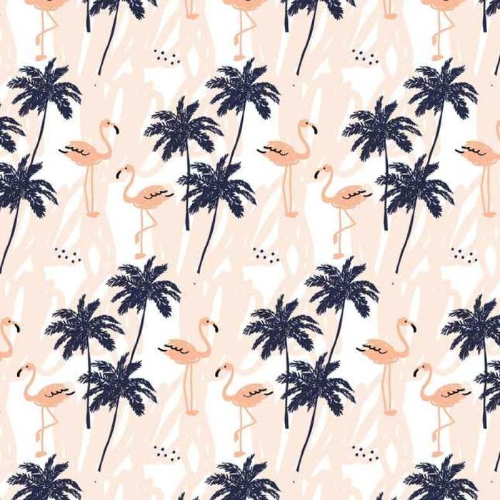 Papier peint à motifs lavable Palm arbres silhouette et rougir flamant rose sur le fond blanc avec des traits. Vector seamless pattern avec des oiseaux et de plantes tropicales. - Animaux
