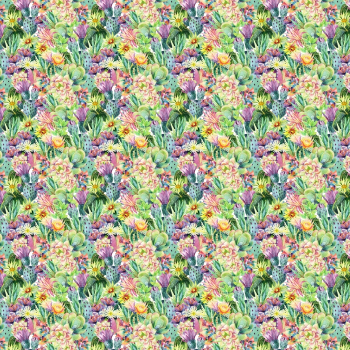 Watercolor blooming cactus background Washable Custom-made Wallpaper - Plants and Flowers