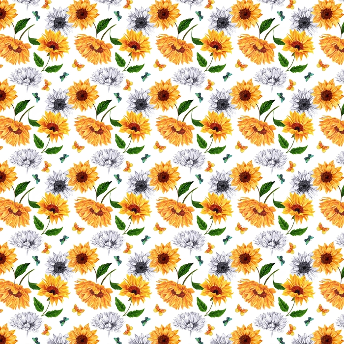 Seamless background pattern with watercolor and pencil sunflower Washable custom-made wallpaper - Plants and Flowers