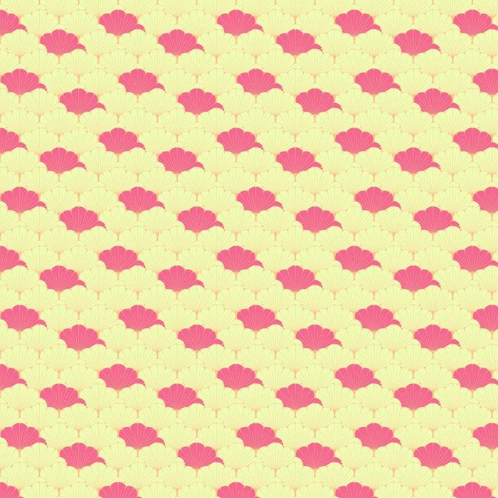 En japansk stil sømløs flis med eksotisk løvemønster i rosa