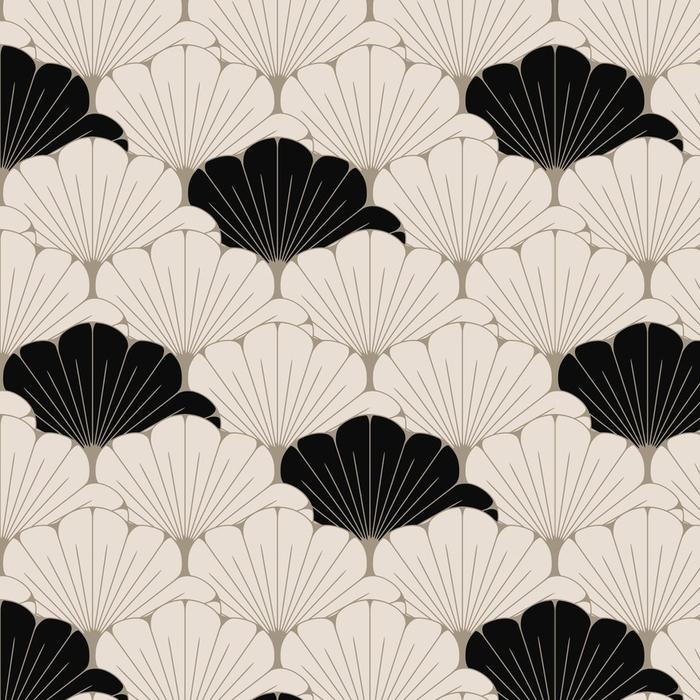 Papier peint lavable sur mesure Une tuile sans couture de style japonais avec le modèle de feuillage exotique en brun doux et noir - Ressources graphiques