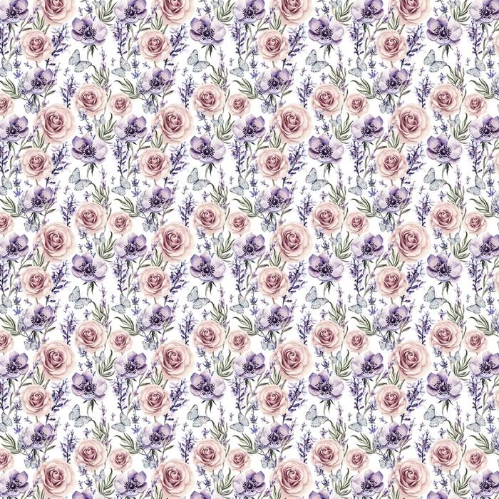 Akvarel mønster med farverne lavendel, roser og anemone. Personlige vaskbare tapet -