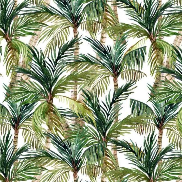 Afwasbaar behang, op maat gemaakt Watercolor palmboom naadloos patroon - Landschappen