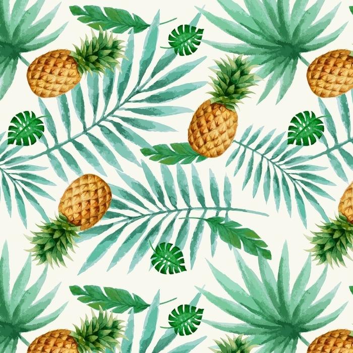 Afwasbaar behang, op maat gemaakt Exotisch fruit naadloos patroon, waterverf. - Bloemen en Planten
