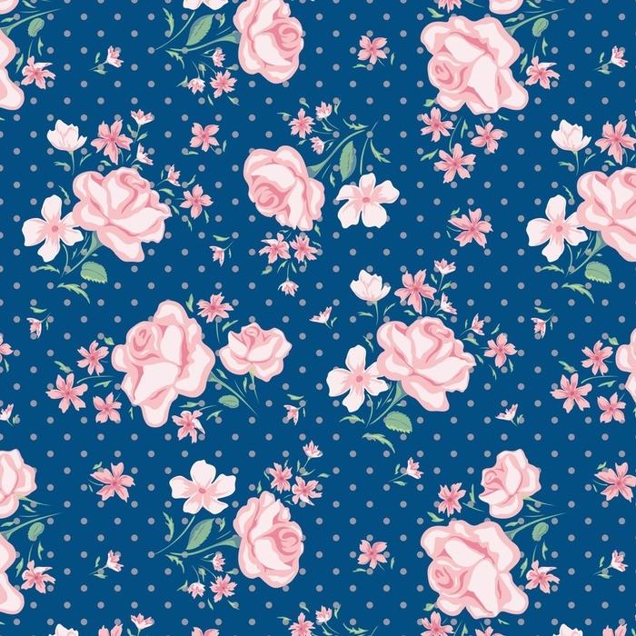 Afwasbaar behang, op maat gemaakt Bloem naadloos patroon - Bloemen en Planten