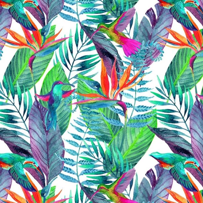 Afwasbaar behang, op maat gemaakt Tropische bladeren naadloze patroon. bloemdessin achtergrond. - Bloemen en Planten