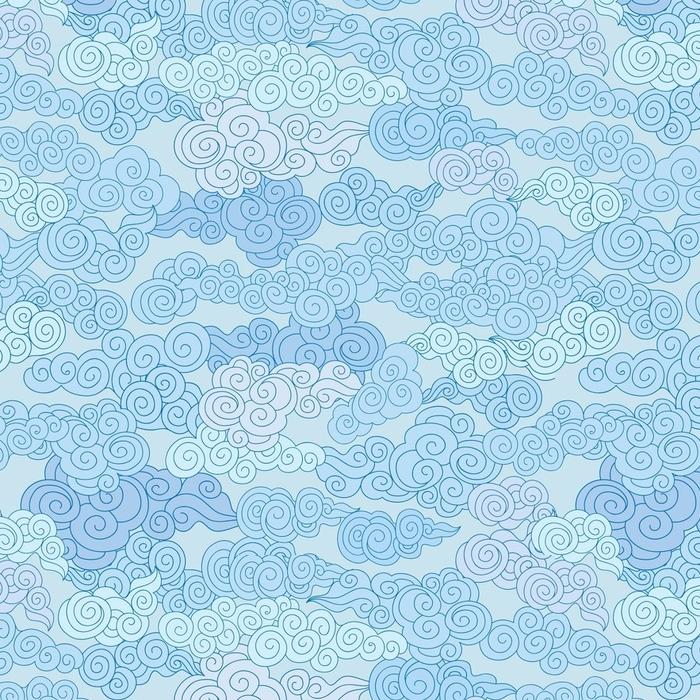 Afwasbaar behang, op maat gemaakt Abstract swirl cloud vormen geometgric betegeld patroon in chinese stijl hemel sier achtergrond - Grafische Bronnen