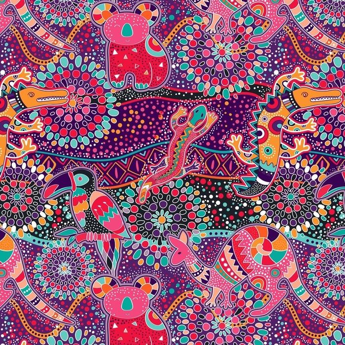 Afwasbaar behang, op maat gemaakt Kleurrijk decoratief patroon. etnische achtergrond - Grafische Bronnen