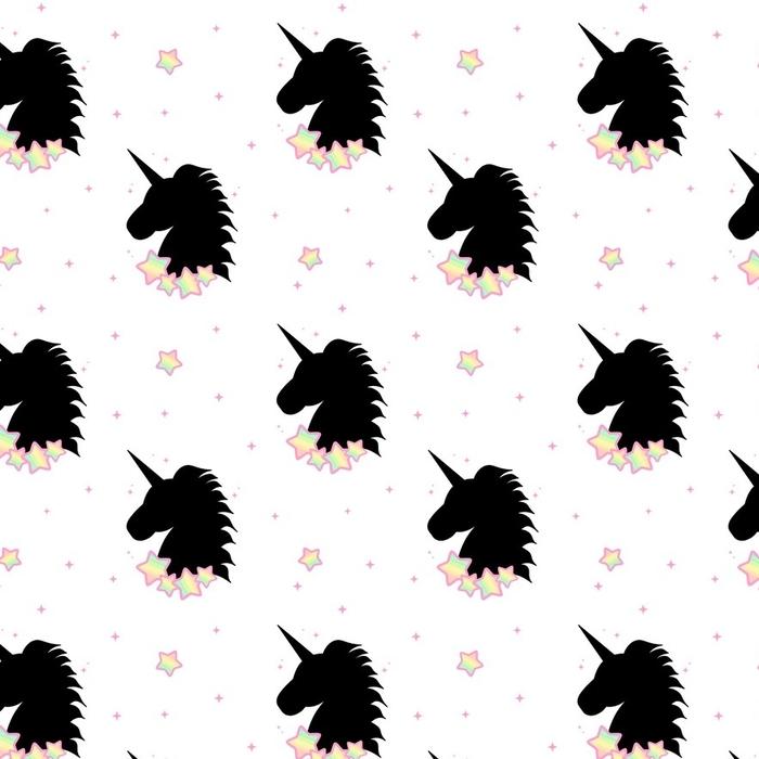 Afwasbaar behang, op maat gemaakt Schattig cartoon zwarte eenhoorn silhouet met regenboog sterren naadloze patroon achtergrond illustratie - Dieren