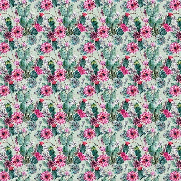 Kaktus akvarel sømløs mønster i boho stil. Personlige vaskbare tapet - Planter og Blomster